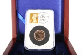 A 2013 ST GEORGE'S DAY FULL SOVEREIGN, in DateStamp capsule dated 23 Apr 2013, in wooden