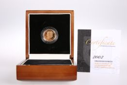 2002 22 CARAT GOLD SHIELD BACK FULL SOVEREIGN, by London Mint in plastic capsule, with certificate