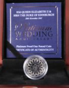 "A 2017 PLATINUM PROOF ONE POUND COIN, ""HM QUEEN ELIZABETH II & HRH THE DUKE OF EDINBURGH PLATINUM"