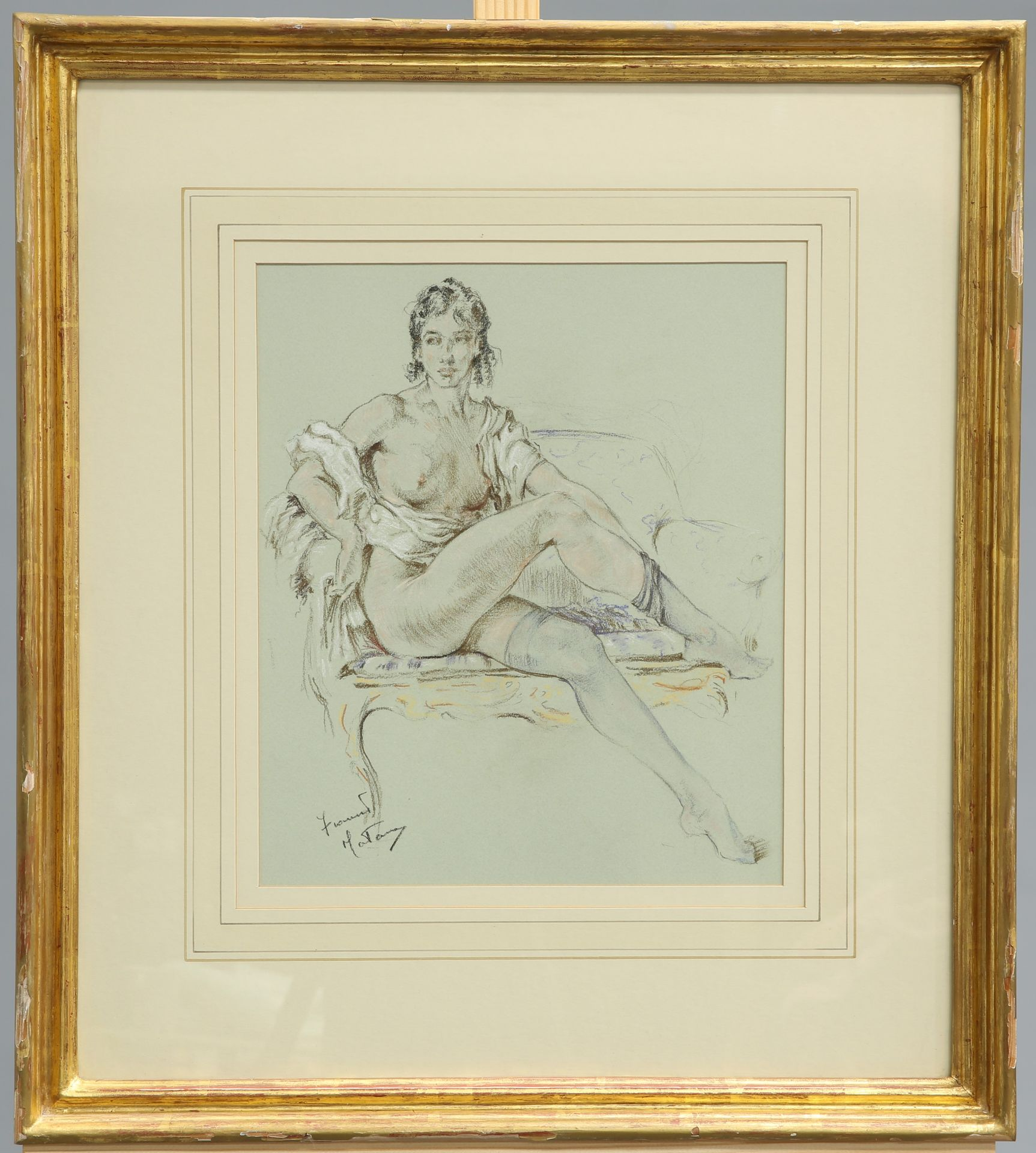 FRANCO MATANIA (1922-2006), FEMALE NUDE SEATED ON A SETTEE, signed lower left, pastel, framed.