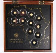 "A 2017 ELEVEN COIN GOLD PROOFSET, ""AFRICAN PRIDE"", no. 00015, in presentation case, with outer"