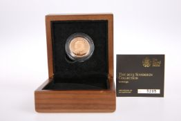 2013 22 CARAT GOLD FULL SOVEREIGN,limited edition, in plastic capsule with certificate numbered