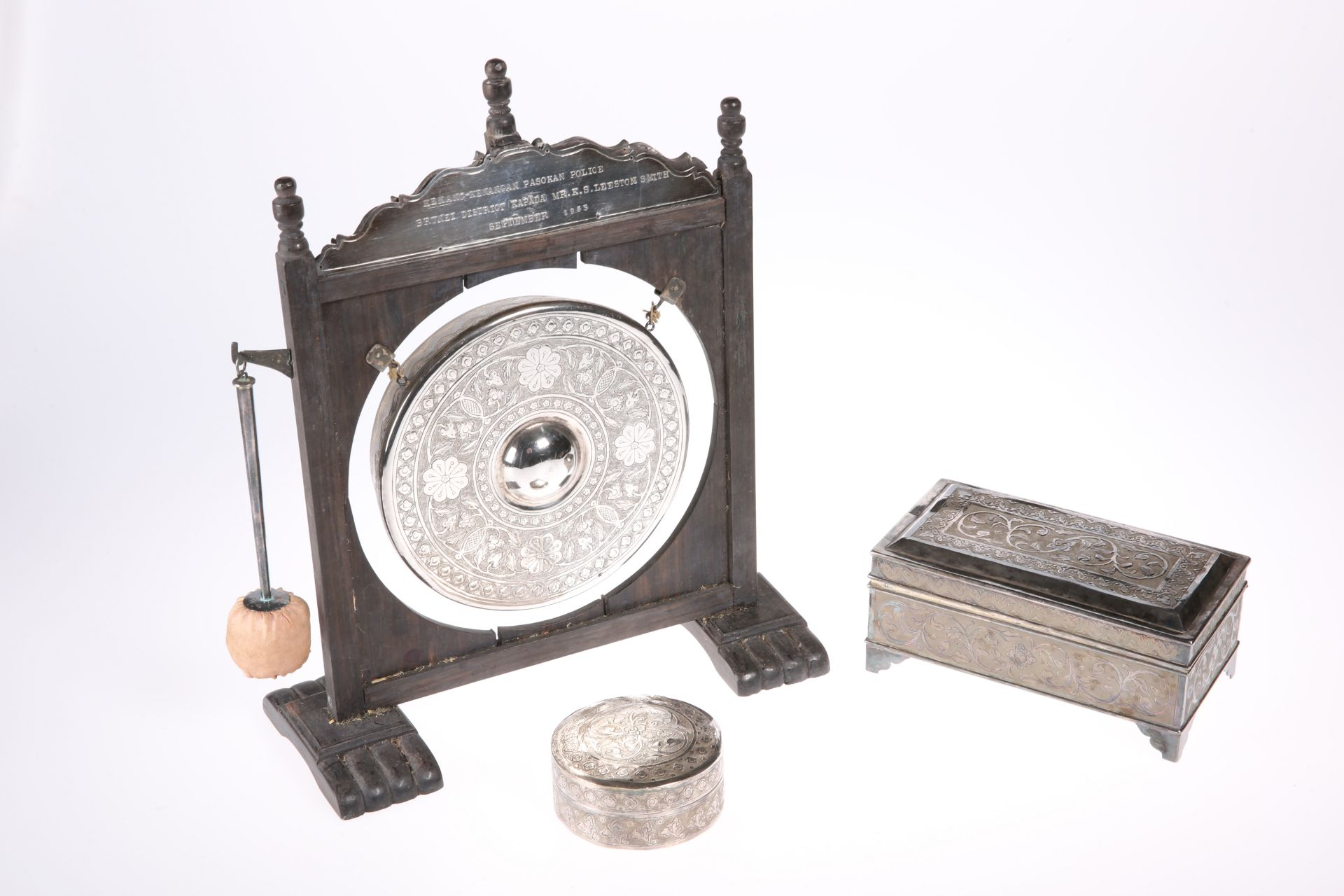 ~ A SMALL GROUP OF MALAYSIAN WHITE METAL ITEMS, comprising table gong with beater, each bears marks,