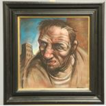 PETER HOWSON (SCOTTISH, BORN 1958), A GLASGOW HERO, signed lower right, pastel framed. 45cm by