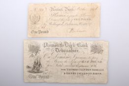 TWO 19TH CENTURY BANK NOTES, the first Plymouth Dock Bank, Devonshire, One Pound, 1st September