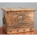 AN ARTS AND CRAFTS COPPER COAL BOX, rectangular with hinged lid, the front repousse with a