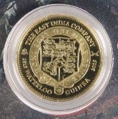 "A LONDON MINT GOLD PROOF COIN, ""THE 2015 EAST INDIA COMPANY WATERLOO GUINEA"", 1.05 denomination,"