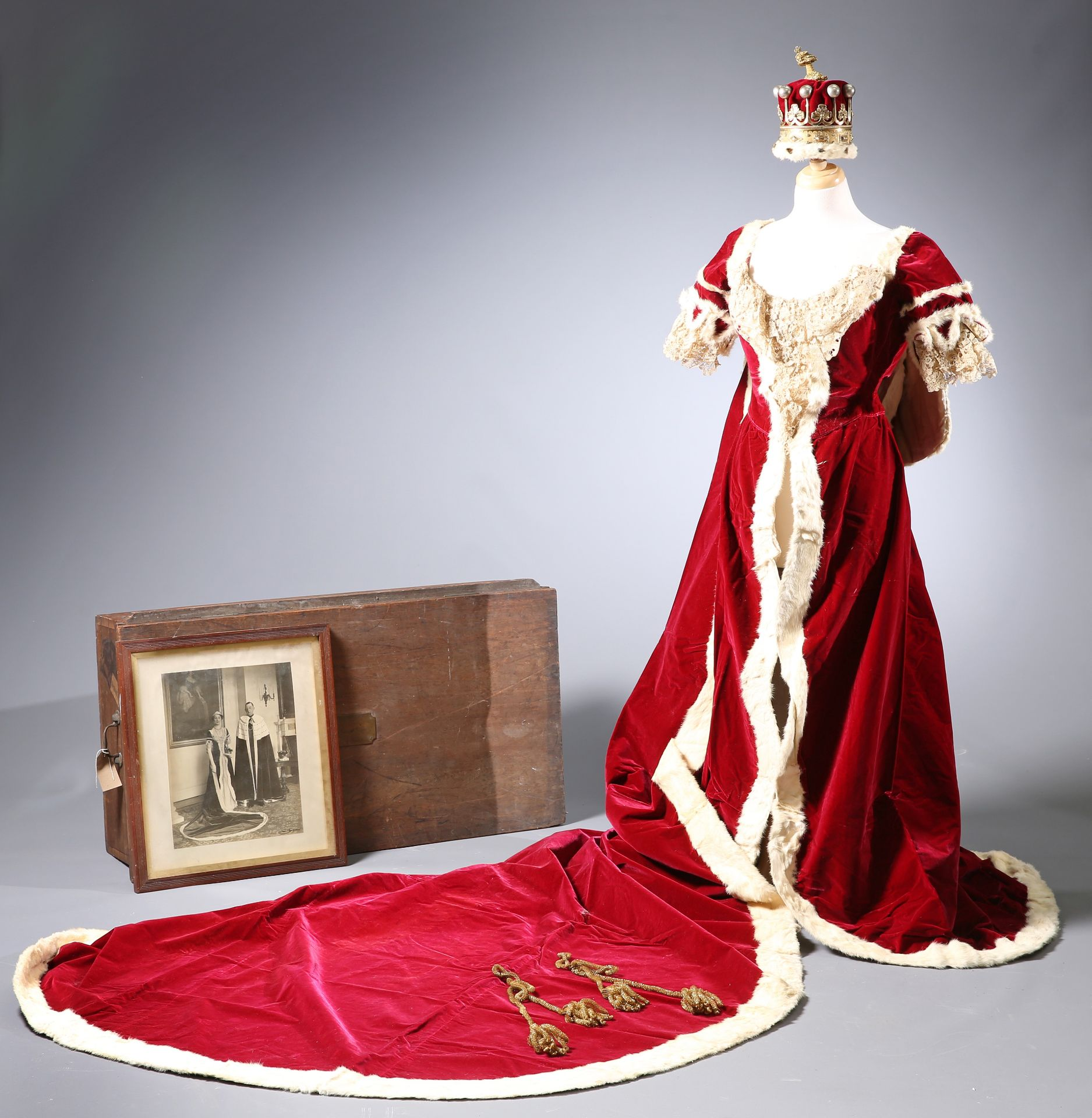 ~ THE CORONATION ROBES OF THE COUNTESS OF GUILFORD by Ede, Son & Ravenscroft, crimson velvet trimmed