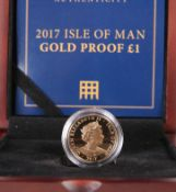 A 2017 ISLE OF MAN GOLD PROOF ONE POUND COIN, boxed with certificate.The absence of a Condition