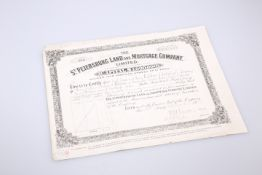 A ST. PETERSBURG LAND AND MORTGAGE COMPANY SHARE CERTIFICATE, for Carl, Henry and Charles Bolckow,