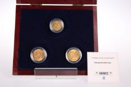 THREE FRENCH GOLD COINS, comprising 1877 twenty francs, 1901 ten francs and 1909 twenty francs. (3)