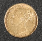 AN 1858 FULL SOVEREIGN.