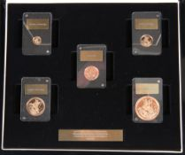 "A FIVE COIN GOLD PROOF SOVEREIGN SET, ""AN ICONIC DESIGN REMASTERED"", designed by Angela Pistrucci,"