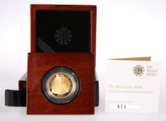 "A ROYAL MINT QUARTER-OUNCE GOLD PROOF COIN, ""THE BRITANNIA 2016"", boxed with certificate."