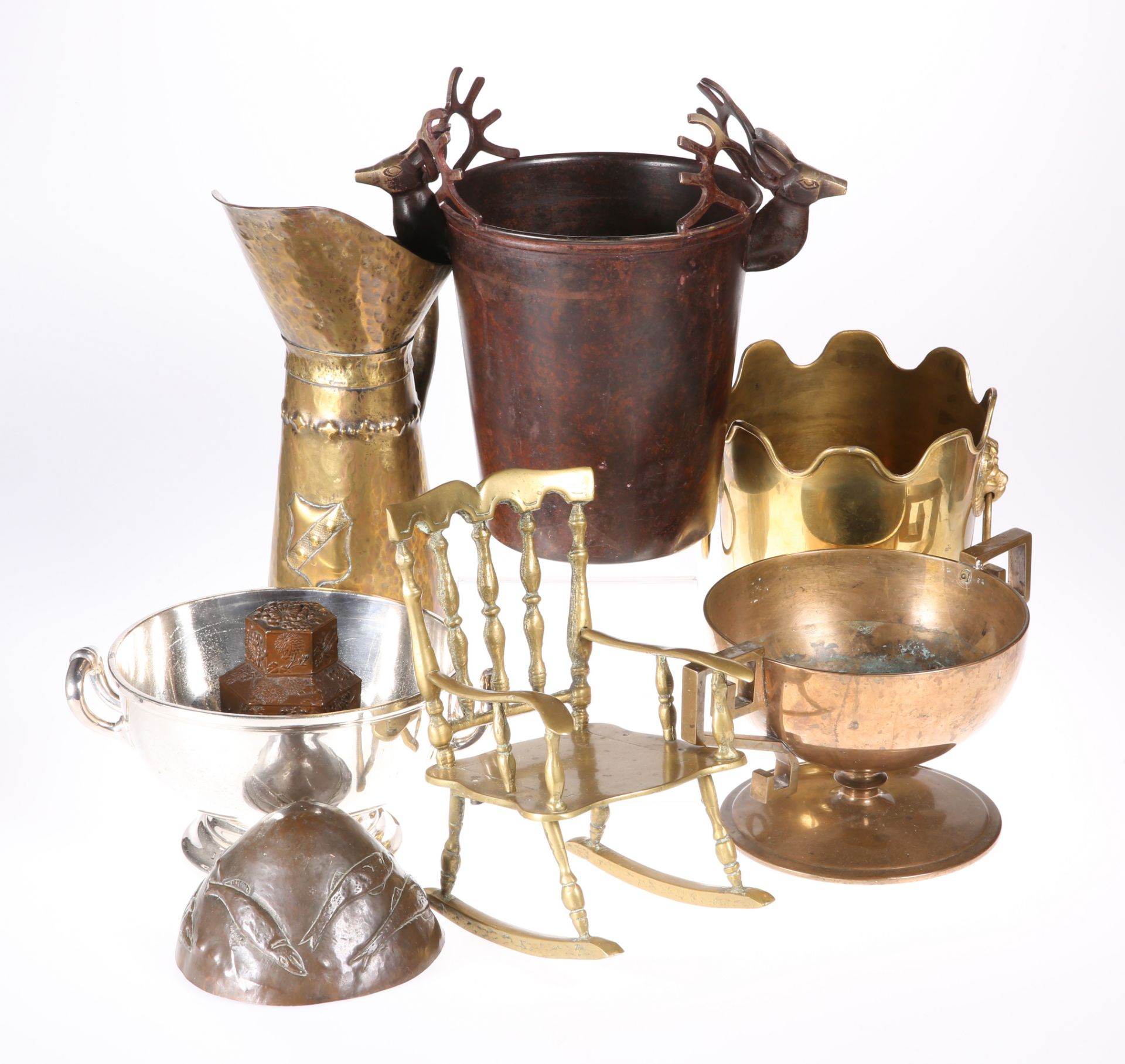 A GROUP OF METALWORK, including brass miniature rocking chair; Chinese tea caddy; silver-plated