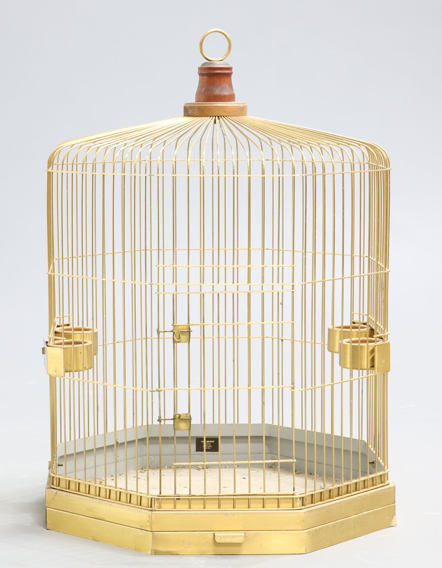 ~ A LARGE COUNTRY HOUSE BRASS BIRDCAGE, octagonal. 88cm high, 62.5cm wide