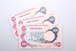 THREE NIGERIAN BANK NOTES, Central Bank of Nigeria, 10 Naira, 1973-78, DZ/12 142097-99, signature
