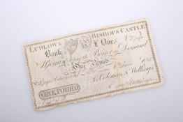 A 19TH CENTURY BANK NOTE, Ludlow & Bishops Castle Bank, One Pound, 6th June 1825, no. 7394 for