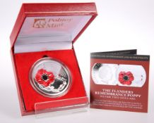 "A 2018 SILVER TWO DOLLAR POPPY COIN, ""THE FLANDERS REMEMBRANCE POPPY"", no. 137/499, boxed with"