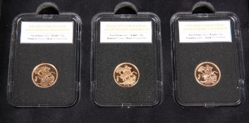 "A SET OF THREE LIMITED EDITION PROOF SOVEREIGNS, ""THE SAPPHIRE CORONATION ANNIVERSARY SOVEREIGN"