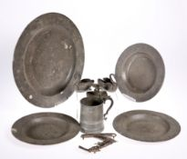 ~ THREE 18TH CENTURY PEWTER PLATES, touchmark of Hellier Perchard, engraved with a crest, each 24.
