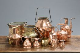 A LARGE COLLECTION OF 19TH CENTURY AND LATER COPPER AND BRASS WARES, including churn, kettles,