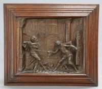 A FLEMISH SPELTER PANEL, 19TH CENTURY, cast in high relief with a sword fight, in an oak frame. 50cm