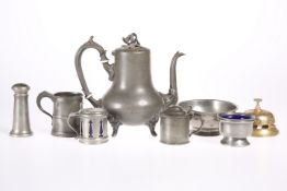 A GROUP OF PEWTER, comprising a 19th Century coffee pot, footed bowl, 1/2 pint tankard, two