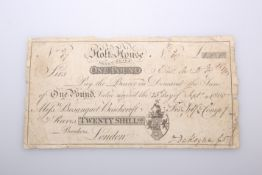 A RARE BANK NOTE, Holt-House, Derby-Shire, One Pound, 25th September 1800, no. 3/67 for Self &