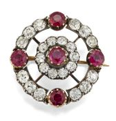 A 19TH CENTURY RUBY AND DIAMOND BROOCH,