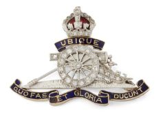 A DIAMOND AND ENAMEL ROYAL ARTILLERY SWEETHEART BROOCH