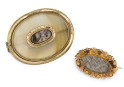 A 9CT HAIRWORK BROOCH AND A CHALCEDONY MEMORIAL BROOCH,