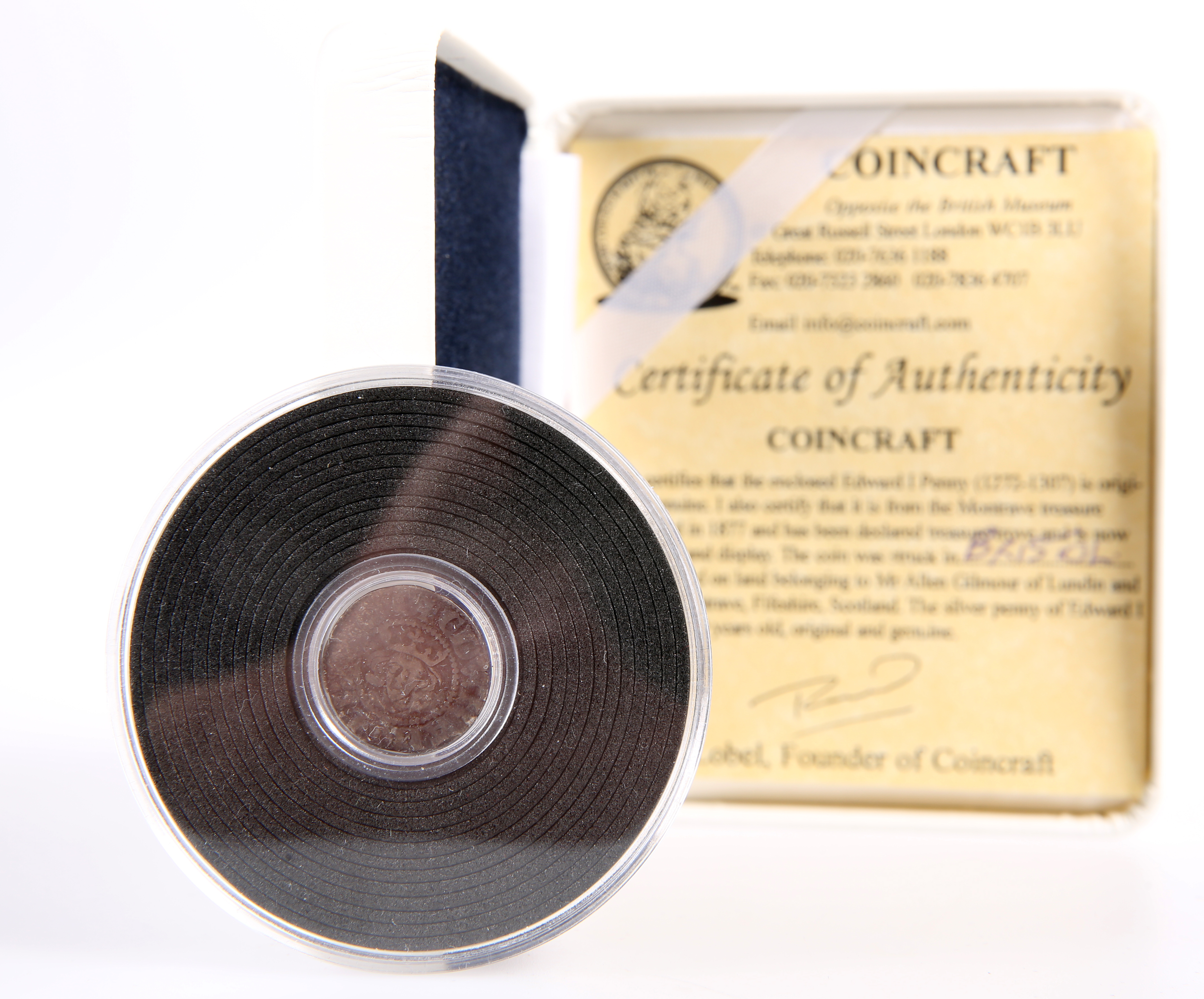 AN EDWARD I SILVER BRISTOL PENNY FROM THE 1877 MONTRAVE HOARD, boxed with Coincraft certificate.