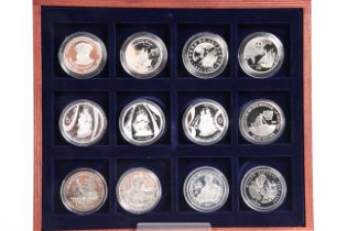 """A WESTMINSTER """"SHIPS & EXPLORERS"""" TWELVE COIN SILVER COLLECTION, boxed with certificates"""