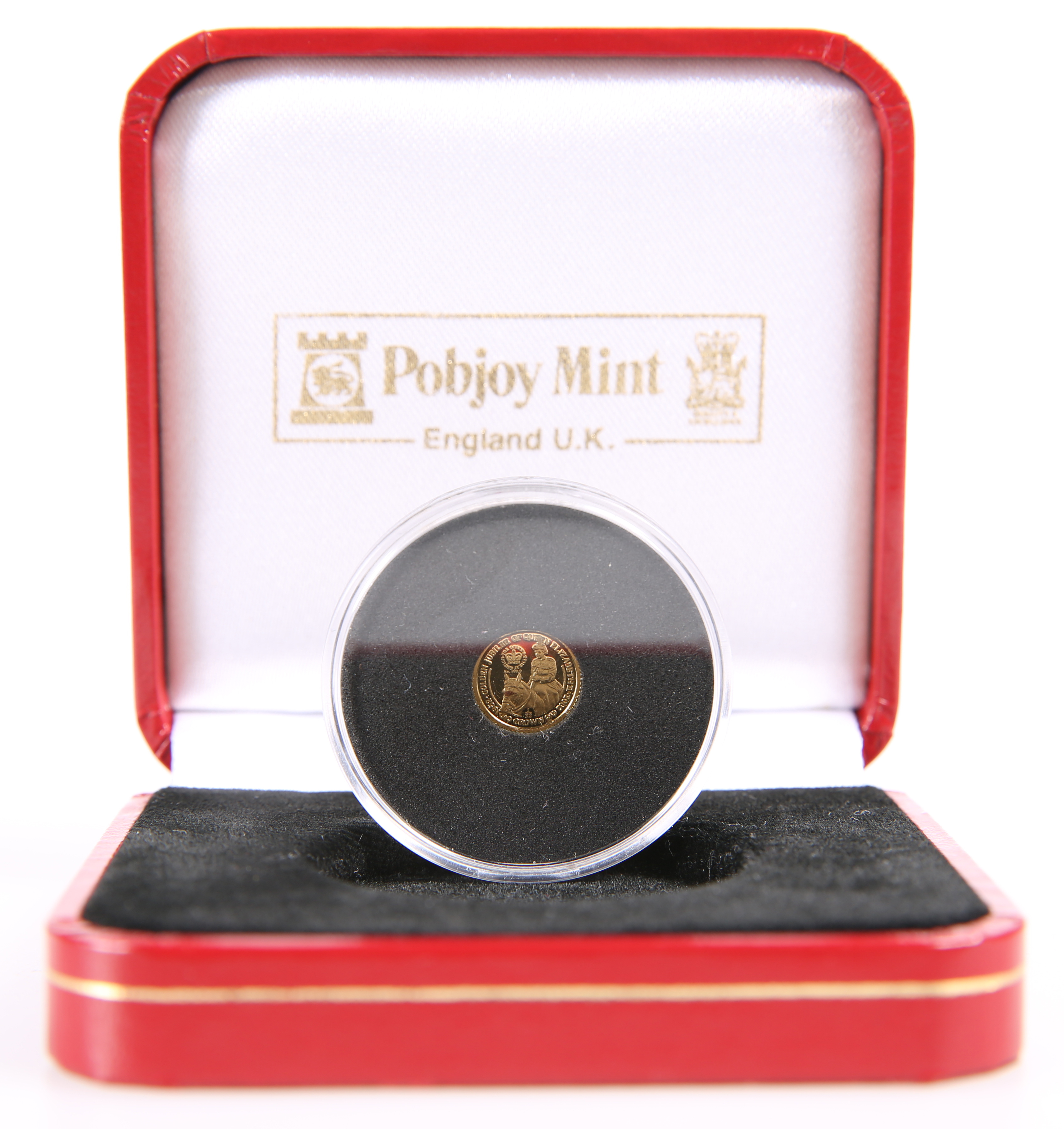 A QEII ISLE OF MAN 2002 GOLDEN JUBILEE 1/32 CROWN, in capsule and Pobjoy Mint case.