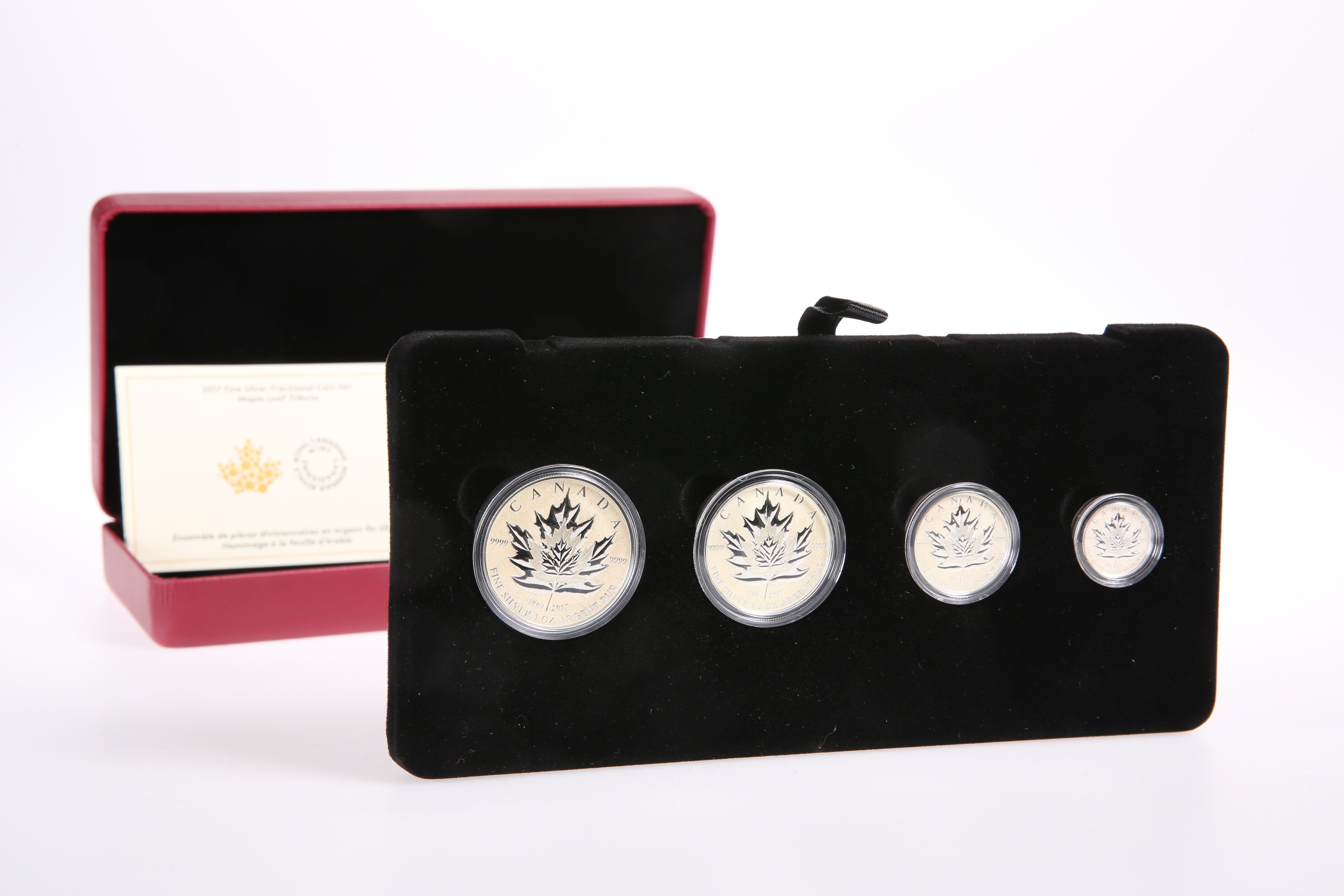 """A ROYAL CANADIAN MINT 2017 FINE SILVER FRACTIONAL COIN SET, """"MAPLE LEAF TRIBUTE"""", boxed with COA - Image 2 of 2"""