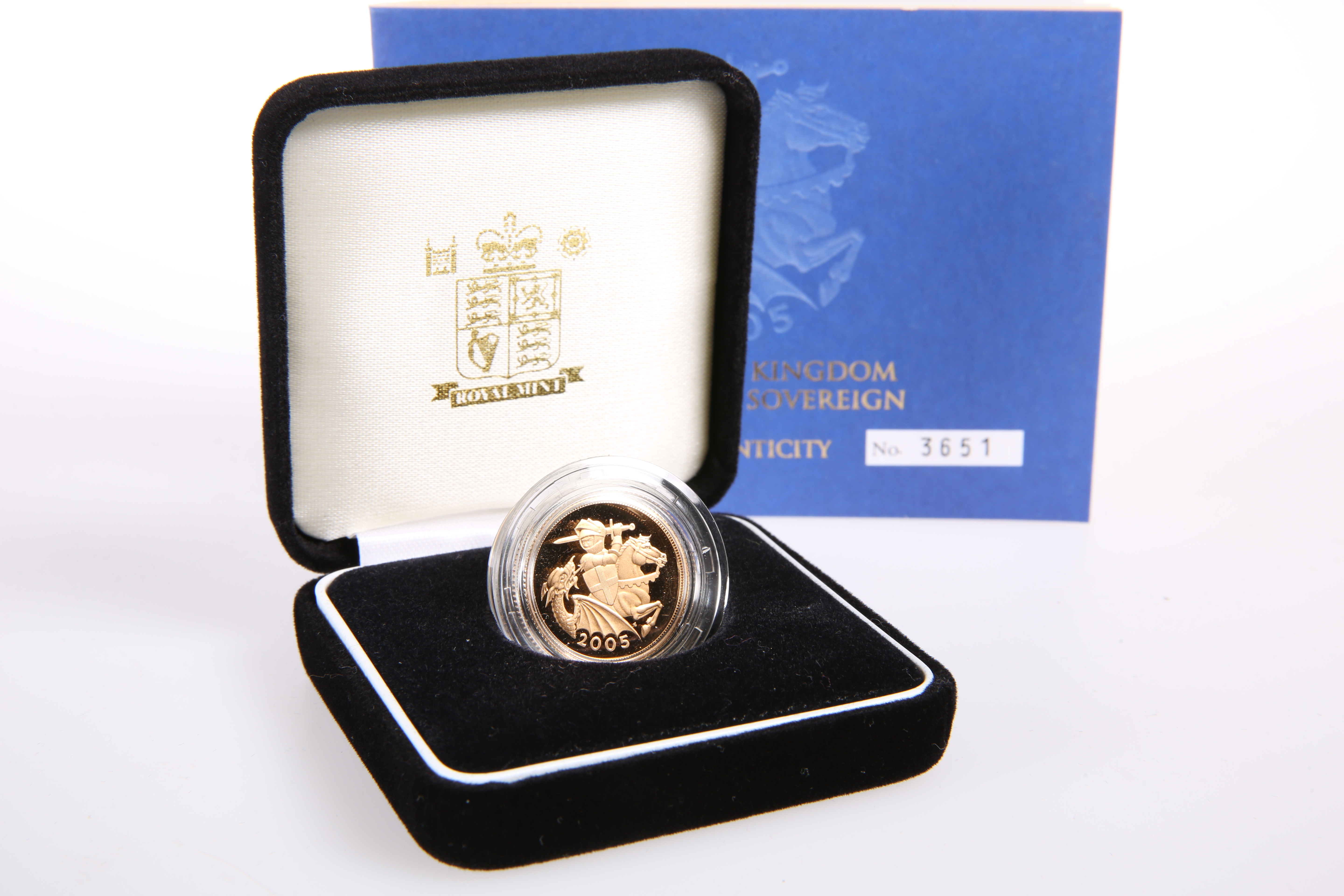 A ROYAL MINT 2005 GOLD PROOF FULL SOVEREIGN, boxed with COA no. 3651