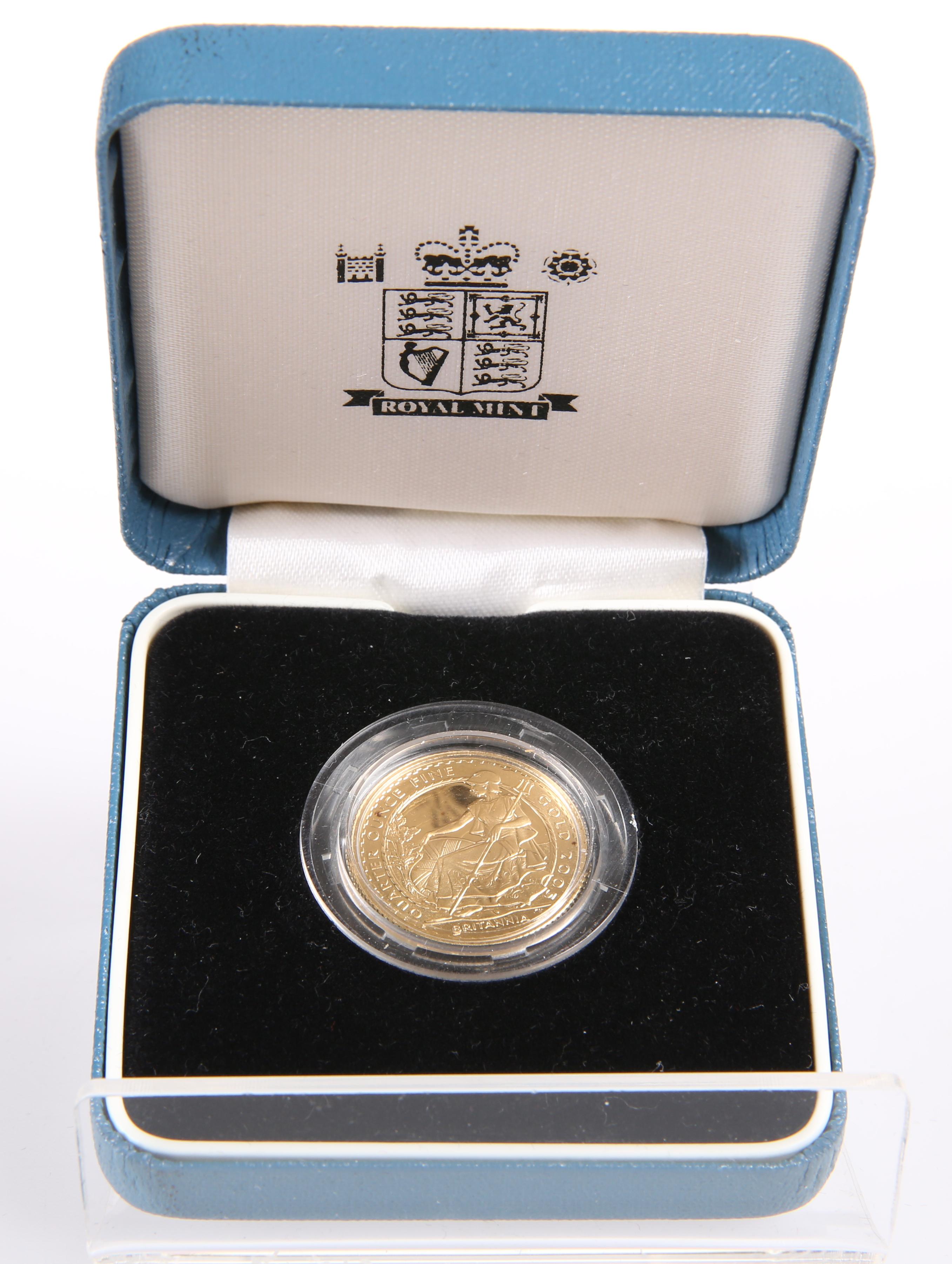A 2005 BRITANNIA QUARTER OUNCE FINE GOLD £25 COIN, in Royal mint box
