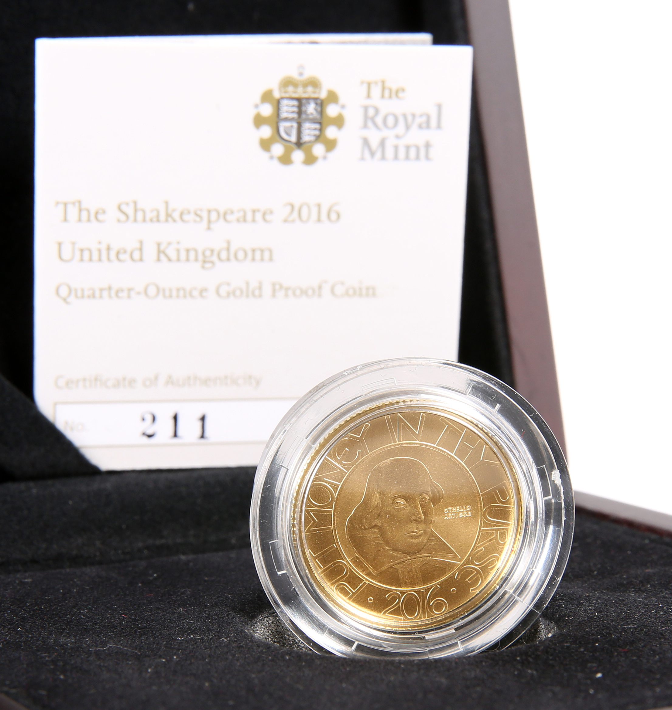 """A ROYAL MINT QUARTER-OUNCE GOLD PROOF COIN, """"THE SHAKESPEARE 2016"""", boxed with COA no. 211"""