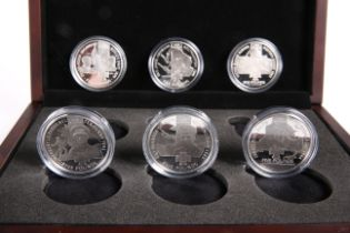 A WESTMINSTER VICTORIA CROSS WINNERS COIN COLLECTION, the six silver proof five pounds coins boxed