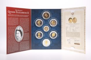 A LONDON MINT QUEEN ELIZABETH II SEVEN COIN SET, including The Queen's 90th Birthday Gold Coin (9