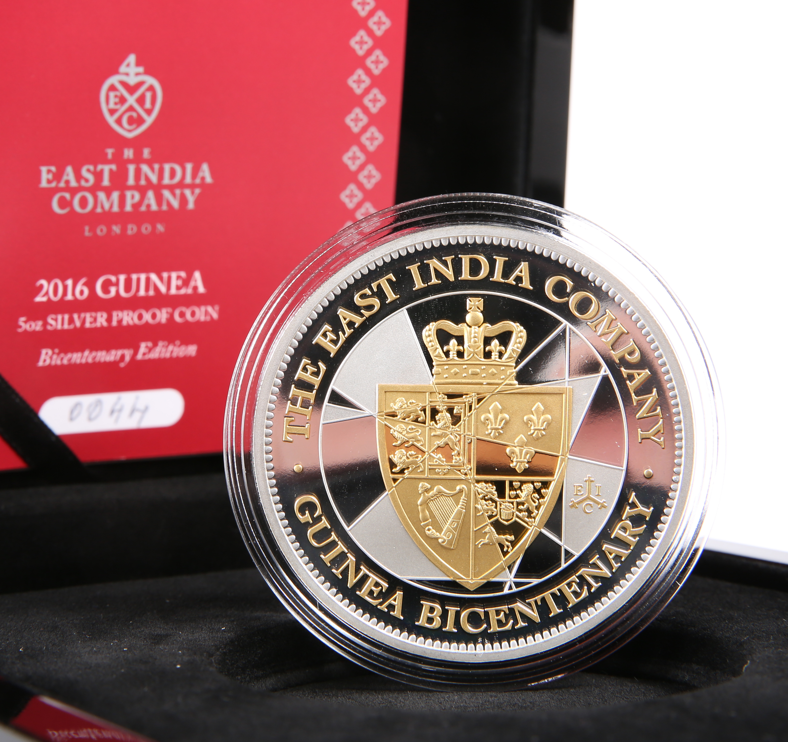 AN EAST INDIA COMPANY 2016 GUINEA 5OZ SILVER PROOF COIN, Bicentenary Edition, boxed with COA no.