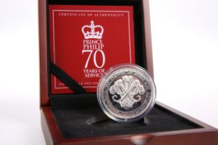 """A SILVER FIVE POUND PIEDFORT COIN, """"PRINCE PHILIP 70 YEARS OF SERVICE"""", boxed with COA no. 189"""