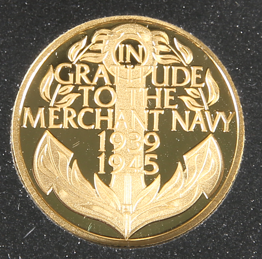 """A GOLD PROOF QUARTER CROWN, """"IN GRATITUDE TO THE MERCHANT NAVY 1939-1945"""", boxed, with certificate"""