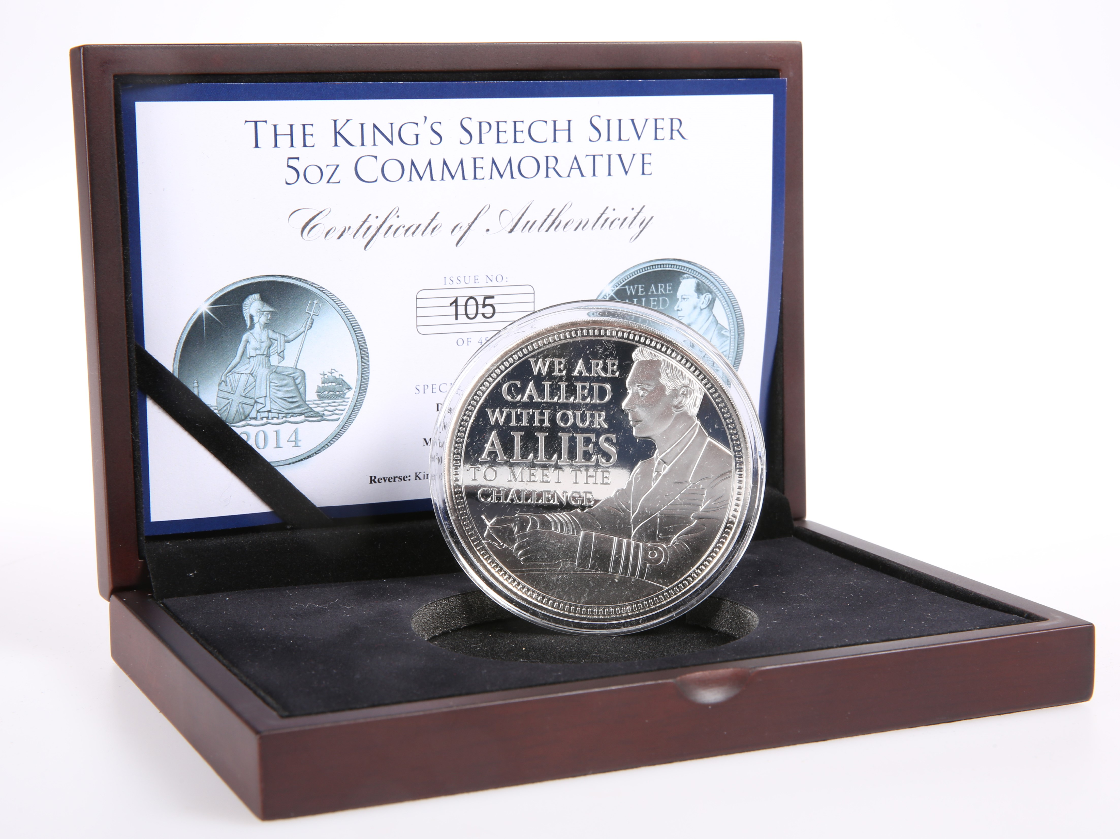 "A SILVER 5OZ COMMEMORATIVE, ""THE KING'S SPEECH"", boxed with certificate no. 105 of 450."