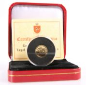 A POBJOY MINT ISLE OF MAN GOLD ANGEL 2014, 1/20oz, boxed with COA