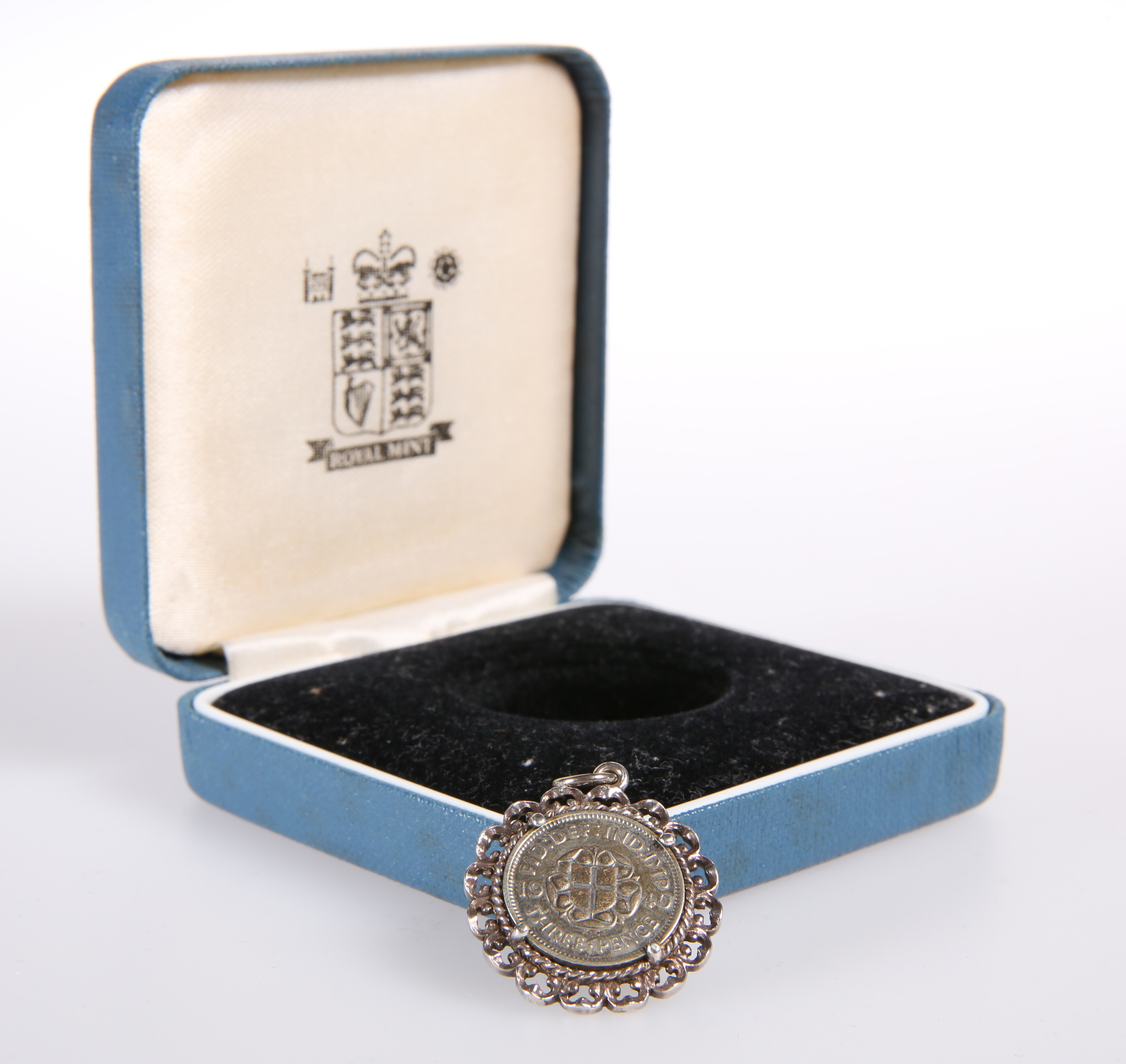 A GEORGE VI SILVER THREE-PENCE BIT, in pendant mount - Image 2 of 2