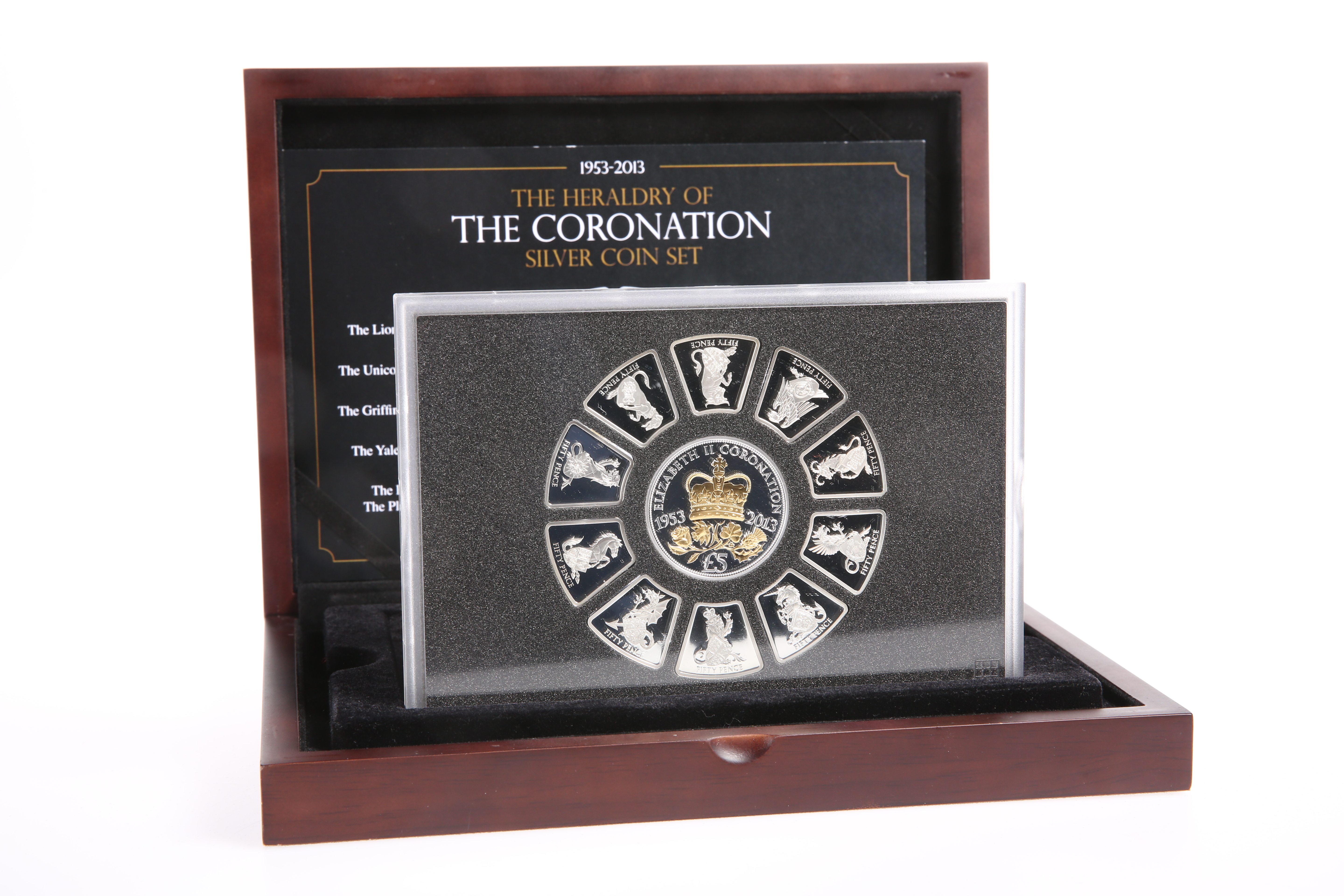 """A SILVER COIN SET, """"THE HERALDRY OF THE CORONATION SILVER COIN SET"""", boxed with COA"""