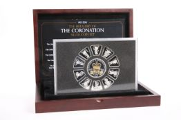 "A SILVER COIN SET, ""THE HERALDRY OF THE CORONATION SILVER COIN SET"", boxed with COA"