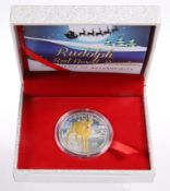 A RUDOLPH THE RED-NOSED REINDEER SILVER FIVE DOLLARS PROOF, with special ruby element, boxed with